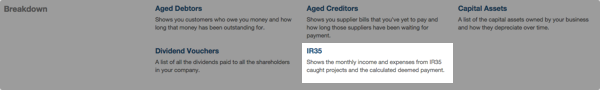 IR35 report option on Accounting reports screen