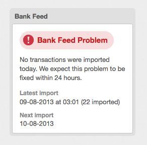bank feed - problem notification
