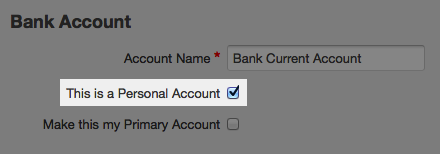 bank account page - check box to switch to personal account