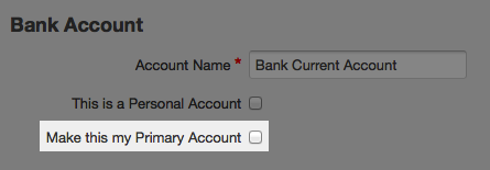 bank account page - check box to make primary account