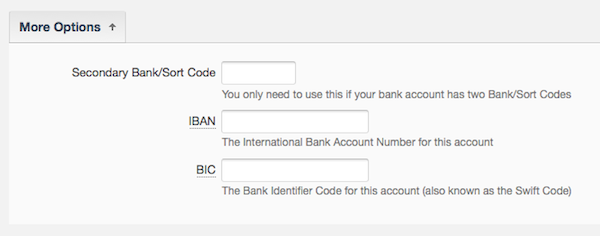 edit details of a bank account - select the more options arrow to give additional information