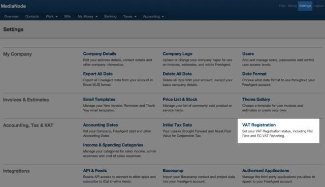 settings screen - vat registration section