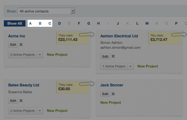 contacts screen - selecting initial letter to filter by name