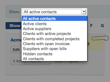 contacts screen - use the drop-down menu to filter contacts by type