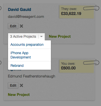 contacts screen - information on project