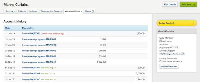 contact - viewing the account history tab
