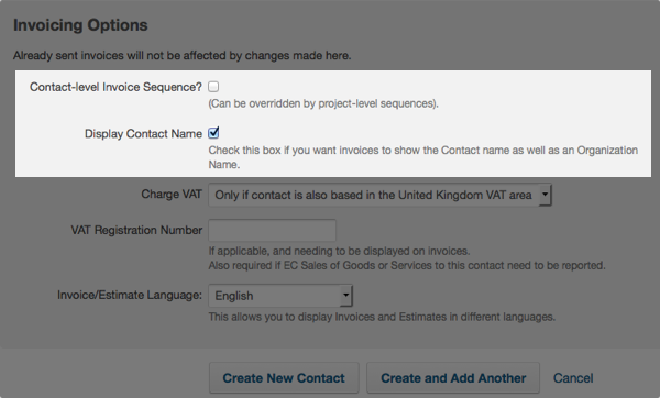 contact invoicing options - contact-level invoice sequence option and display contact name