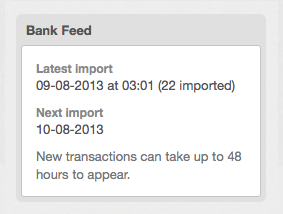 bank feed - showing transaction imports