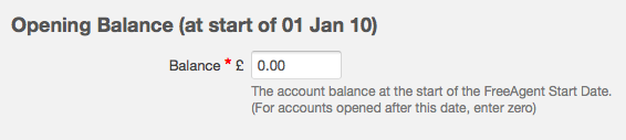 edit bank account - opening balance figure