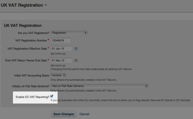 VAT registration - check box for enabling EC VAT reporting