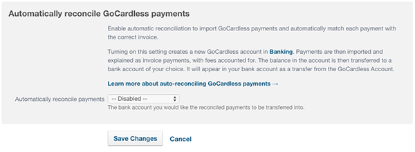 enabling GoCardless auto reconciliation