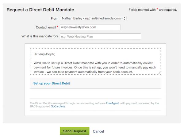 GoCardless Taking Payments With A Direct Debit Mandate FreeAgent - Send invoice for payment