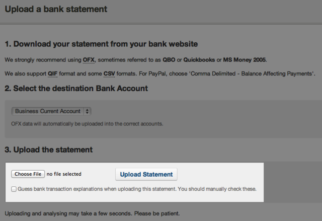 upload a bank statement - check the box for FreeAgent to guess which transactions belong in which category