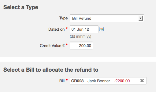 creating a bill refund entry