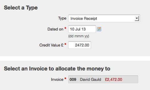 invoice receipt - choosing an invoice for a receipt