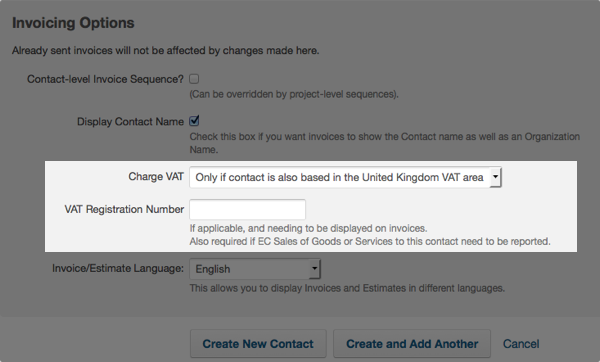 contact invoicing options - charge VAT option and client VAT registration number
