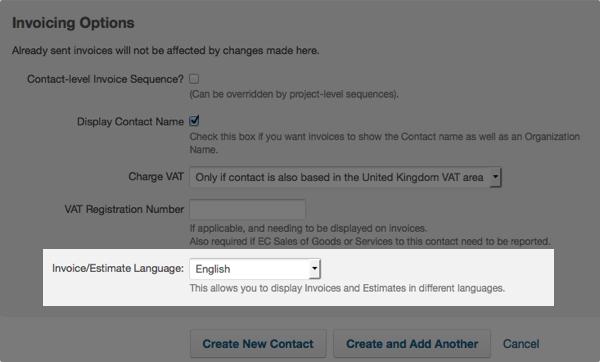 contact invoicing options - invoice language