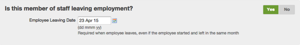 selecting yes to is employee leaving?