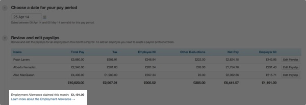 employment allowance calculation