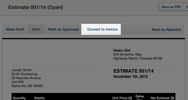 opened estimates - convert to invoice button