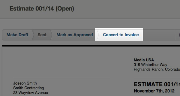 opened estimates - button converting the estimate to an invoice