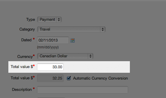 Multi-currency expenses