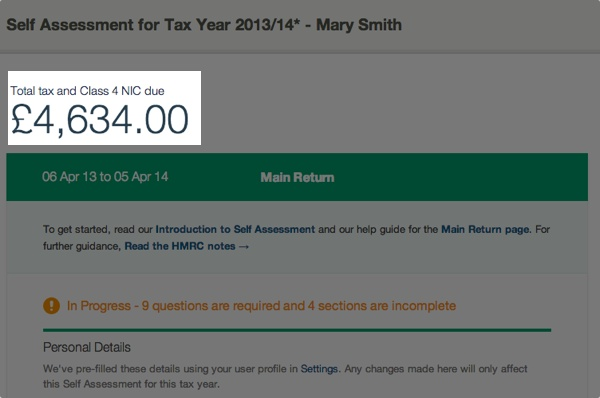 self assessment tax adjustments page - figure showing total tax and class 4 NIC due
