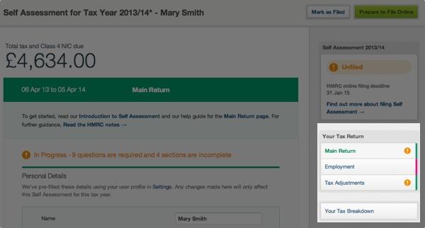 self assessment - your tax return menu