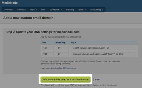 Add custom email domain button