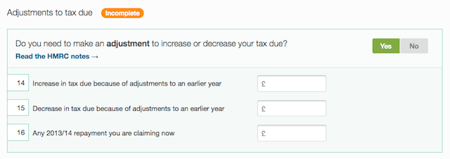 adjustments to tax due section
