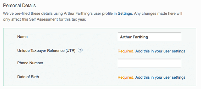 self assessment tax return main page - giving personal details for hmrc