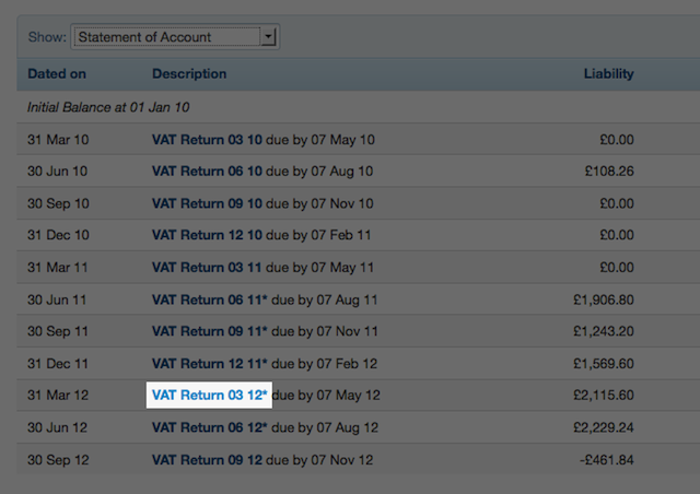 VAT return section - select on VAT return
