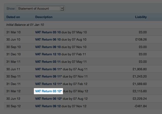 VAT return section - select on VAT return