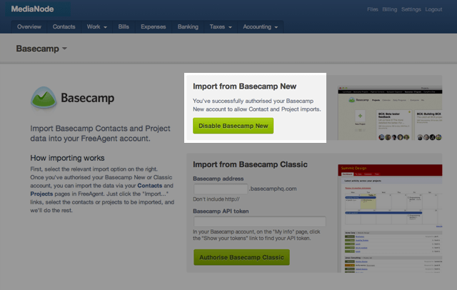 Image showing the Basecamp de-authorisation page