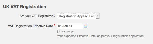 VAT settings - VAT registration applied for
