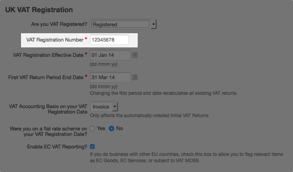VAT settings - enter VAT registration number