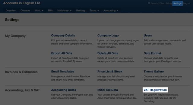 settings screen - locating VAT registration