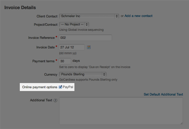 Adding a PayPal payment option to a new invoice