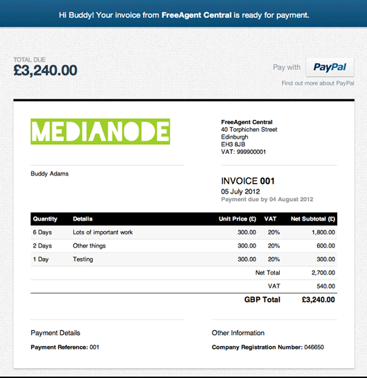 The invoice and payment link that your client will see
