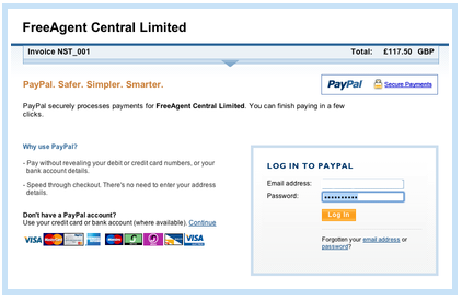 The PayPal transaction screen
