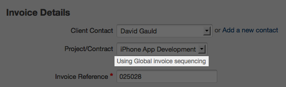invoice details - using global invoice sequencing