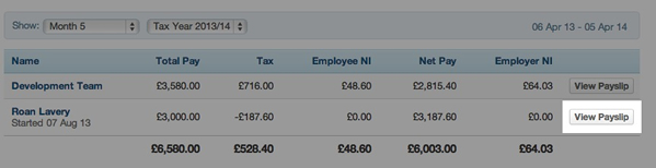 select view payslip from table