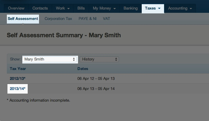 self assessment summary - showing a specific tax year