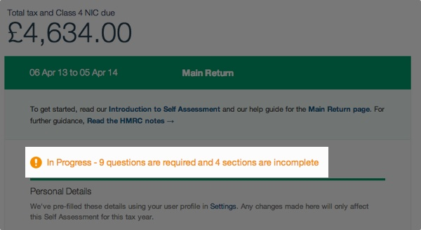 self assessment tax return - unanswered questions notification