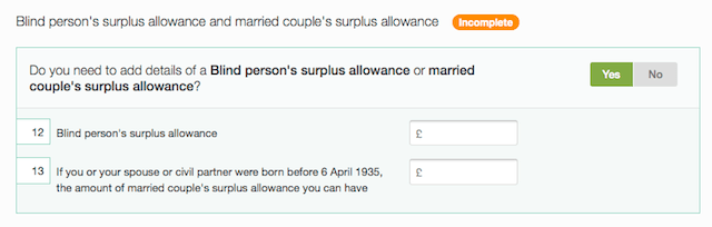 blind person's or married couple's surplus allowance - boxes 12-13