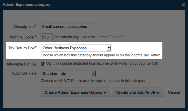 admin expenses category - choosing which tax return box should appear on the income tax return