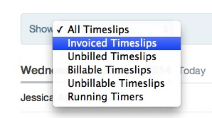Filter timeslips view