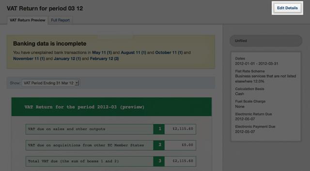 VAT return - select the edit details button