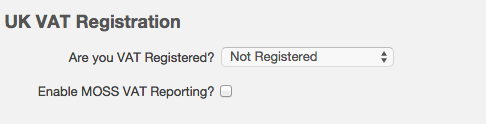 VAT settings - not registered for VAT