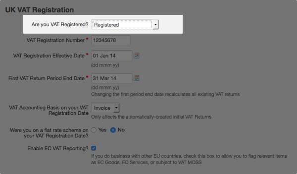 vat settings - select vat registered option